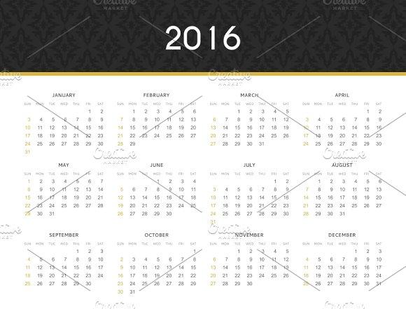 English. Simple modern calendar 2016 - Product Mockups