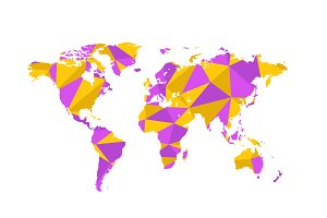 Triangulated world map on white