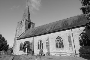 St Mary Magdalene church in Tanworth in Arden in black and white
