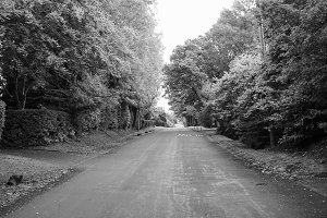 View of Tanworth in Arden in black and white