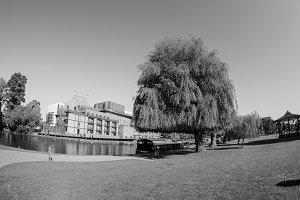 River Avon in Stratford upon Avon in black and white