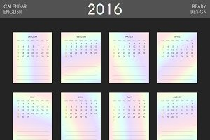 English. Modern calendar 2016