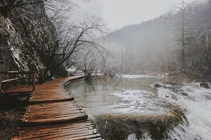 Wooden path in the Plitvice Lakes
