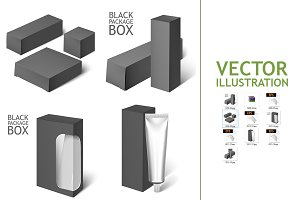 Black Realistic Box. Mockup Template