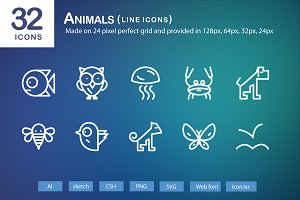 32 Animals Line Icons