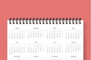 Realistic calendar template 2016