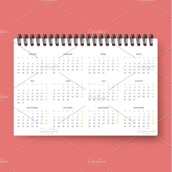 Realistic Calendar Template 2016 Product Mockups Creative Market