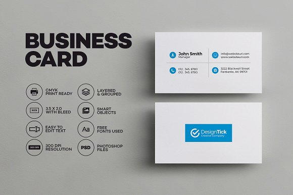 Simple clean business card business card templates creative market simple clean business card business cards wajeb Choice Image