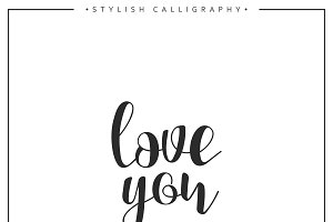 love you calligraphic phrase