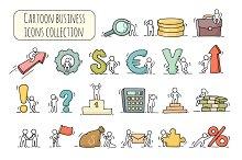 Cartoon business icons set