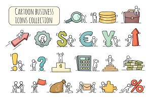 Cartoon business icons set