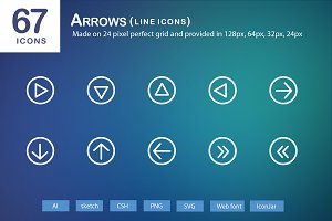 67 Arrows Line Icons