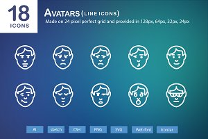 18 Avatars Line Icons