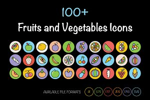100+ Fruits and Vegetables Icons