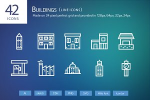 42 Buildings Line Icons