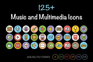 125+ Music and Multimedia Icons