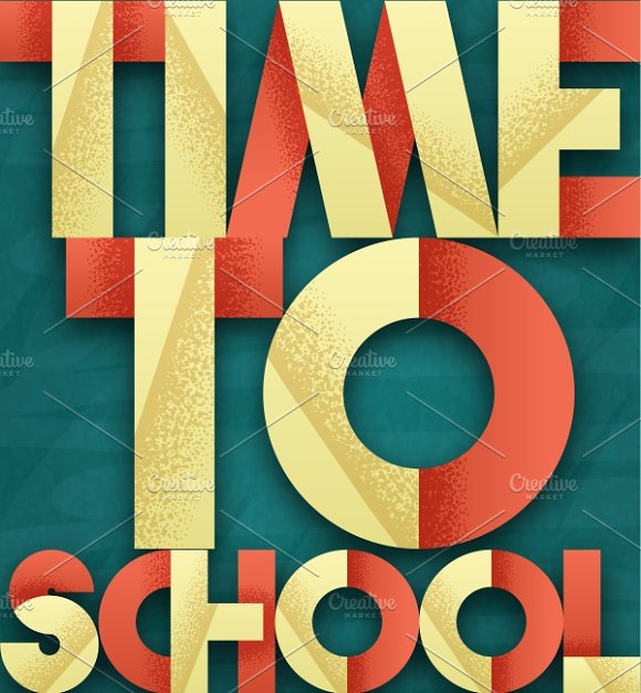 Time to school. Retro poster - Illustrations