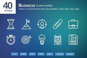 40 Business Line Icons