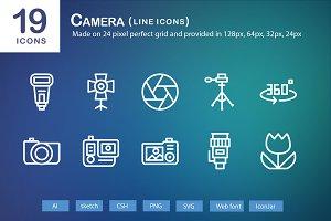 19 Camera Line Icons
