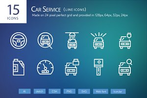 15 Car Service Line icons