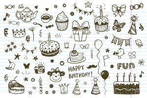 Birthday doodle icons + patterns
