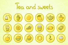 Tea and sweets round icons set