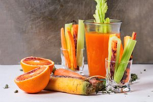 Colorful carrots and juice