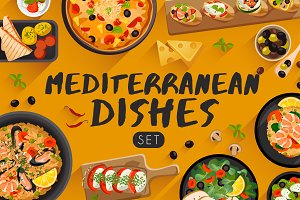 Big Set of Mediterranean Cuisine