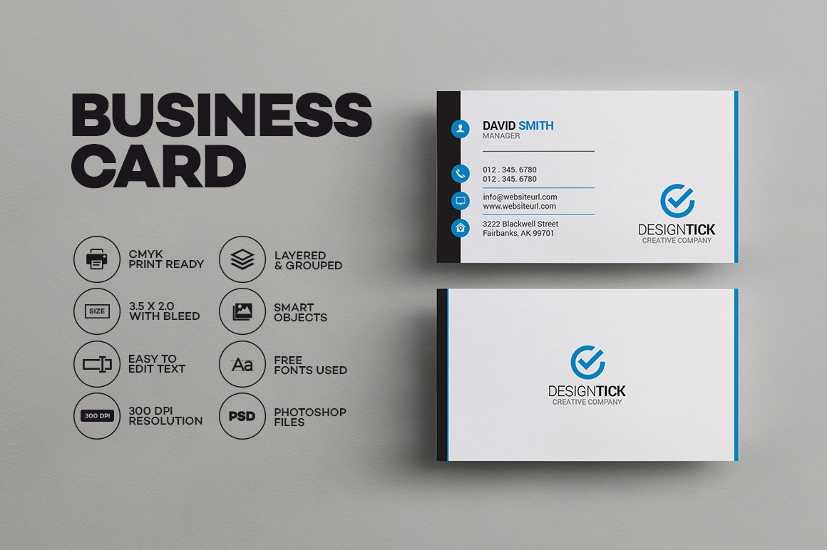 Simple clean business card business card templates creative market fbccfo Choice Image