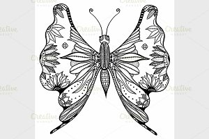 Vector stylized butterfly