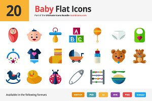 20 Baby Flat Icons
