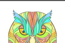 Coloring print with bright owl