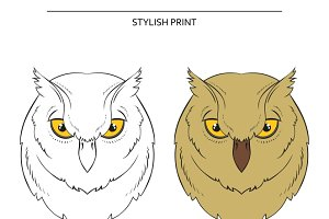 Isolated set of sketch of owls