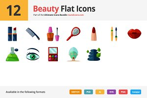 12 Beauty Flat Icons