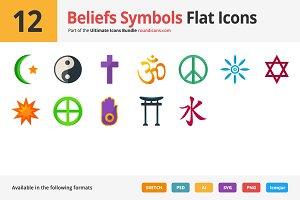12 Beliefs Symbols Flat Icons