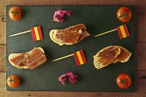 Spanish tapa on a slate plate