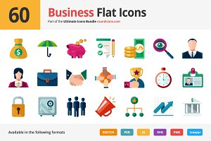 60 Business Flat Icons