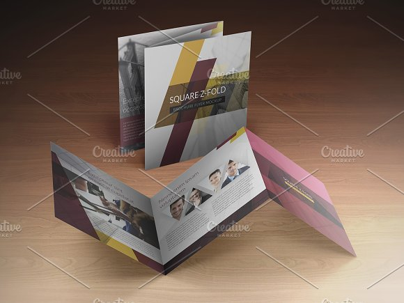 square z fold brochure mockup product mockups creative market