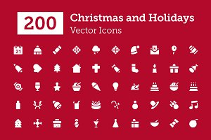 200 Christmas Vector Icons