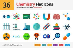 36 Chemistry Flat Icons