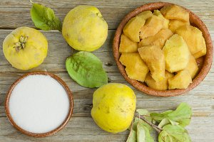 Quince fruits and quince paste ingredients