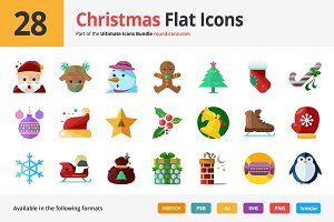 28 Christmas Flat Icons