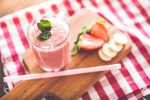 Fresh Yummy Strawberries Smoothie