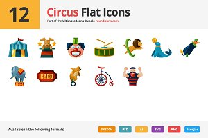 12 Circus Flat Icons
