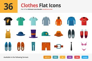 36 Clothes Flat Icons