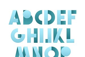 Retro font in blue