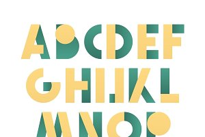 Retro font in yellow and green