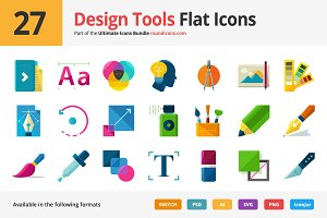27 Design Tools Flat Icons
