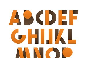 Retro font in orange and brown