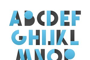 Retro font in blue and grey